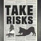 Dictionary Art, Word Art - Dog Design - Take Risks