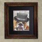Steampunk Dog - Dictionary Art: Staunch Steampunk Bulldog in Porkpie Hat