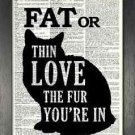 Dictionary Art, Word Art - Fat or Thin, Love the Fur You're In