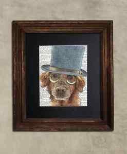 Steampunk Dog - Dictionary Art: Delirious Golden Retriever in Top Hat