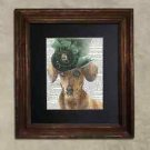 Steampunk Dog - Dictionary Art: Daring Dachshund in Frilly Hat