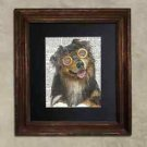 Steampunk Dog - Dictionary Art: Joyous Australian Shepherd in Vintage Glasses