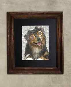 Steampunk Dog - Dictionary Art: Joyous Australian Shepherd in Vintage Glasses