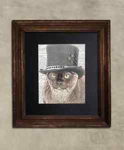 Steampunk Cat - Dictionary Art: Delectable Burmese Cat in Top Hat