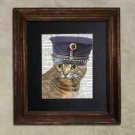 Steampunk Cat - Dictionary Art: Cheeky Bengal Cat in Vintage Belgian MP Cap