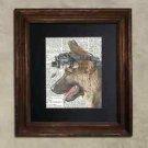 Steampunk Dog - Dictionary Art: Vigilant German Shepherd in Night Vision Goggles