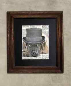 Steampunk Dog - Dictionary Art: Capricious Fawn Great Dane in Top Hat