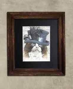 Steampunk Cat - Dictionary Art: Fanciful Ragdoll Cat in Frilly Hat