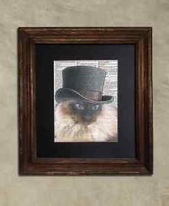 Steampunk Cat - Dictionary Art: Benevolent Steampunk Balinese Cat in Top Hat