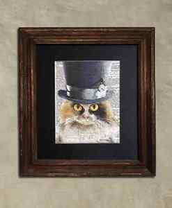 Steampunk Cat - Dictionary Art: Courteous Calico Cat in Top Hat