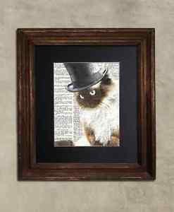 Steampunk Cat - Dictionary Art: Quizzical Ragdoll Cat in Top Hat