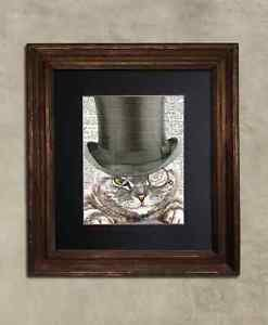 Steampunk Cat - Dictionary Art: Distinguished Striped Tabby Cat in Top Hat