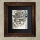 Steampunk Cat - Dictionary Art: Demure British Shorthair Cat in Frilly Hat