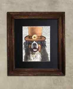 Steampunk Dog - Dictionary Art: Quirky Bernese Mountain Dog in Top Hat