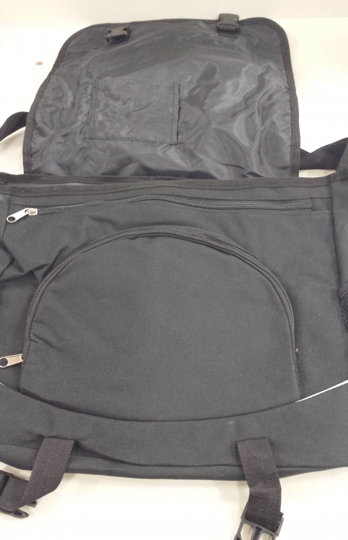 Black messenger bag with NYSATE logo on front