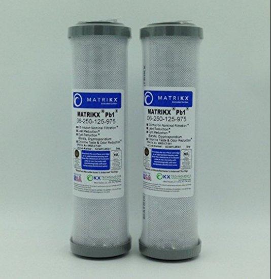 "KX MATRIKX Pb1 10"" Length Extruded Carbon Block Filter Cartridge 2 PK 06-250-125"