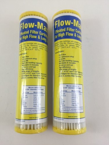 """New Watts Flow-Max 50 Absolute Micron Pleated Filter 9.75"""" x 2.5"""" Remove Cyst FM-50-975 Pack of 2"""