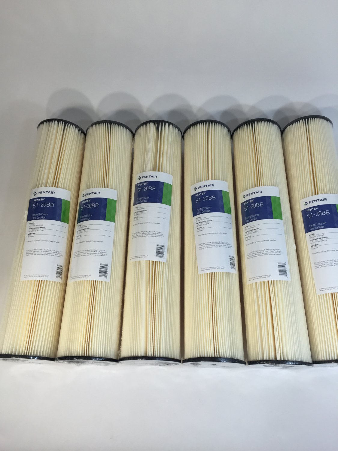 "6 pk Pentek S1-20BB Pleated Cellulose Sediment Water Filter Cartridge 20 Micron 20""x4-1/2"" 155305-43"