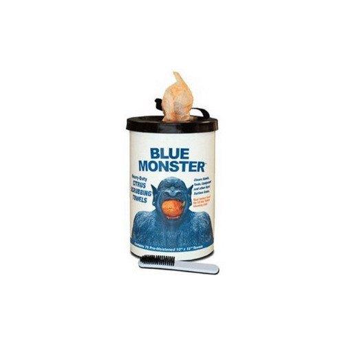 "10"" x 12"" Blue Monster Citrus Scrubbing Towels w/ Nail Brush (75 pack)"