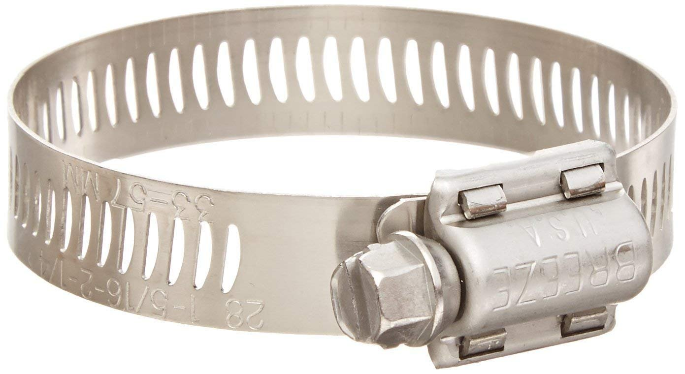 Breeze Power-Seal Stainless Steel Hose Clamp, Worm-Drive, SAE Size 52, (Pack of 10)