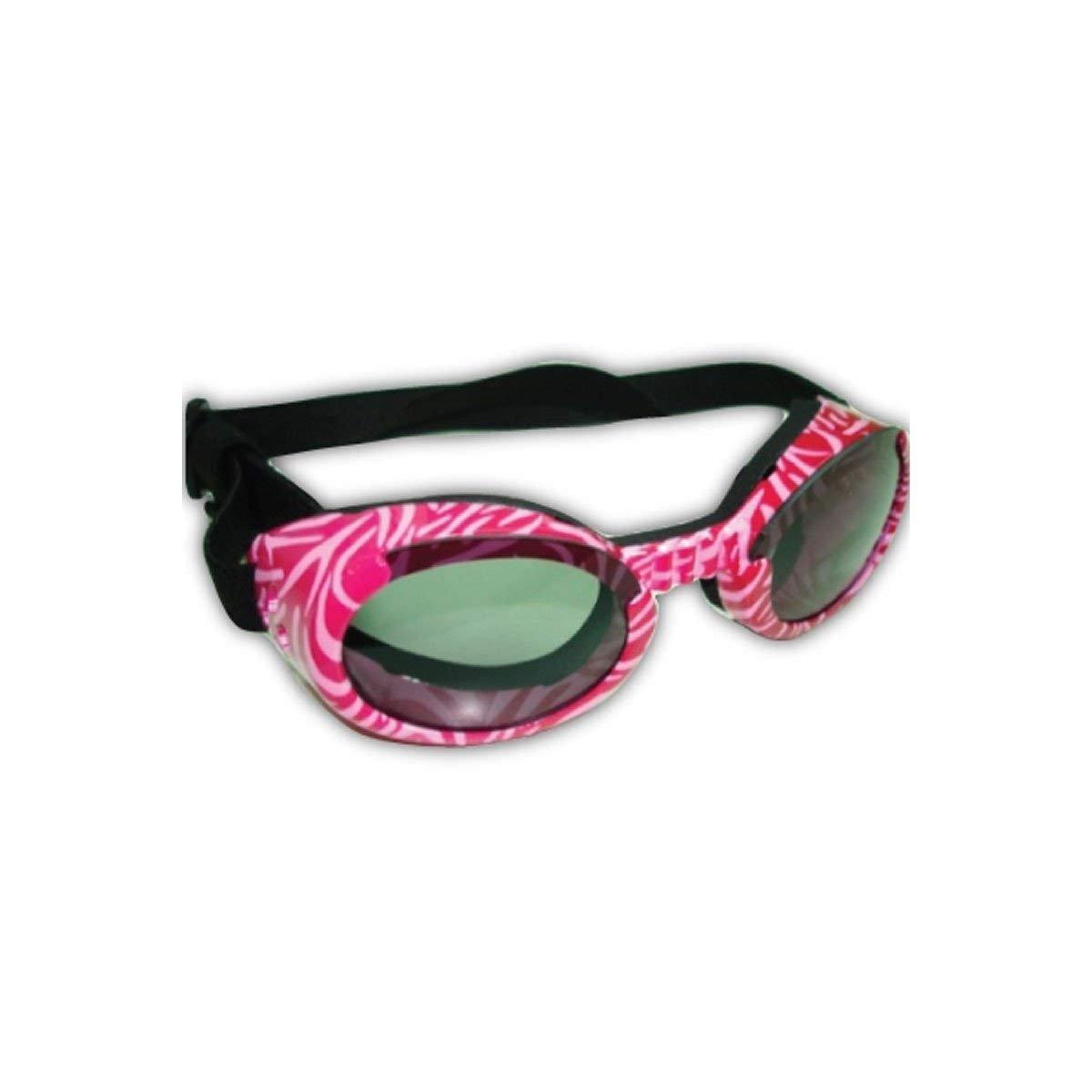 Doggles ILS Sunglass, X-Small, Pink Zebra Frame/Smoke Lens