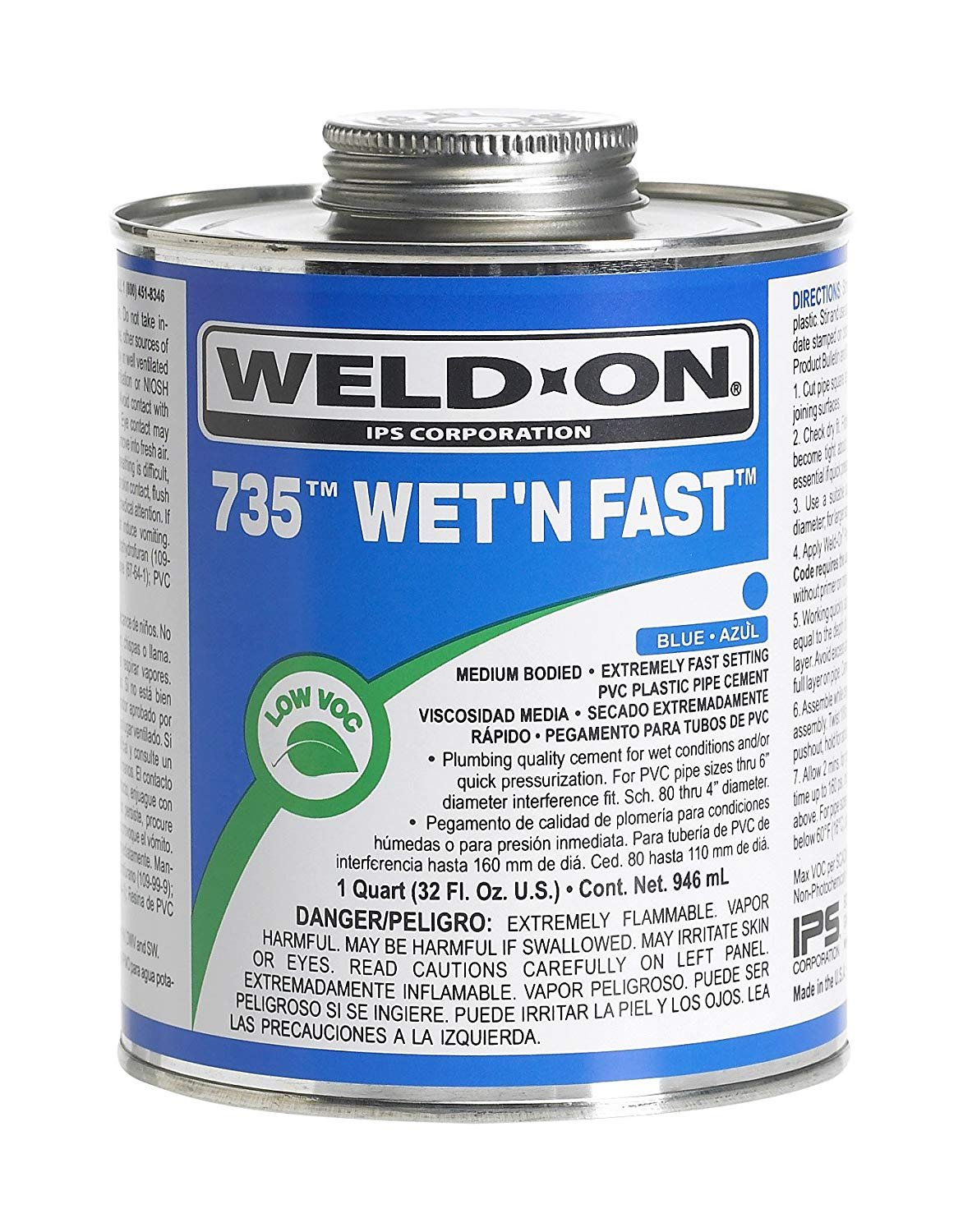IPS CORPORATION GIDDS-451200 PVC Weld On Cement Wet N Fast Blue 1/4 Pint