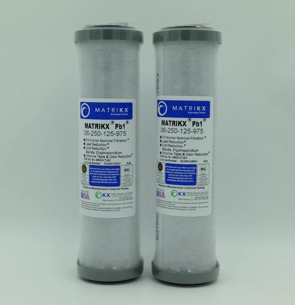 KX MATRIKX Pb1 10-Inch Length Extruded Carbon Block Filter Cartridge, 2-Pack