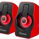 PC Computer Speakers Reccazr SP2040 USB-Powered Multimedia Desktop 2070 RED