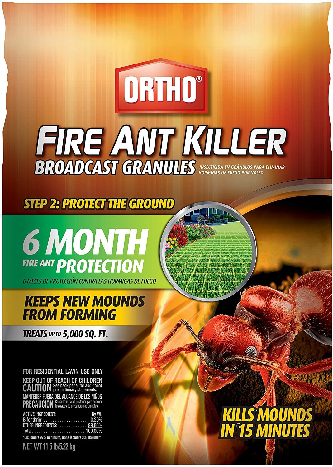 Ortho Fire Ant Killer Broadcast Granules: Treats up to 5,000 sq. ft, Prevent New