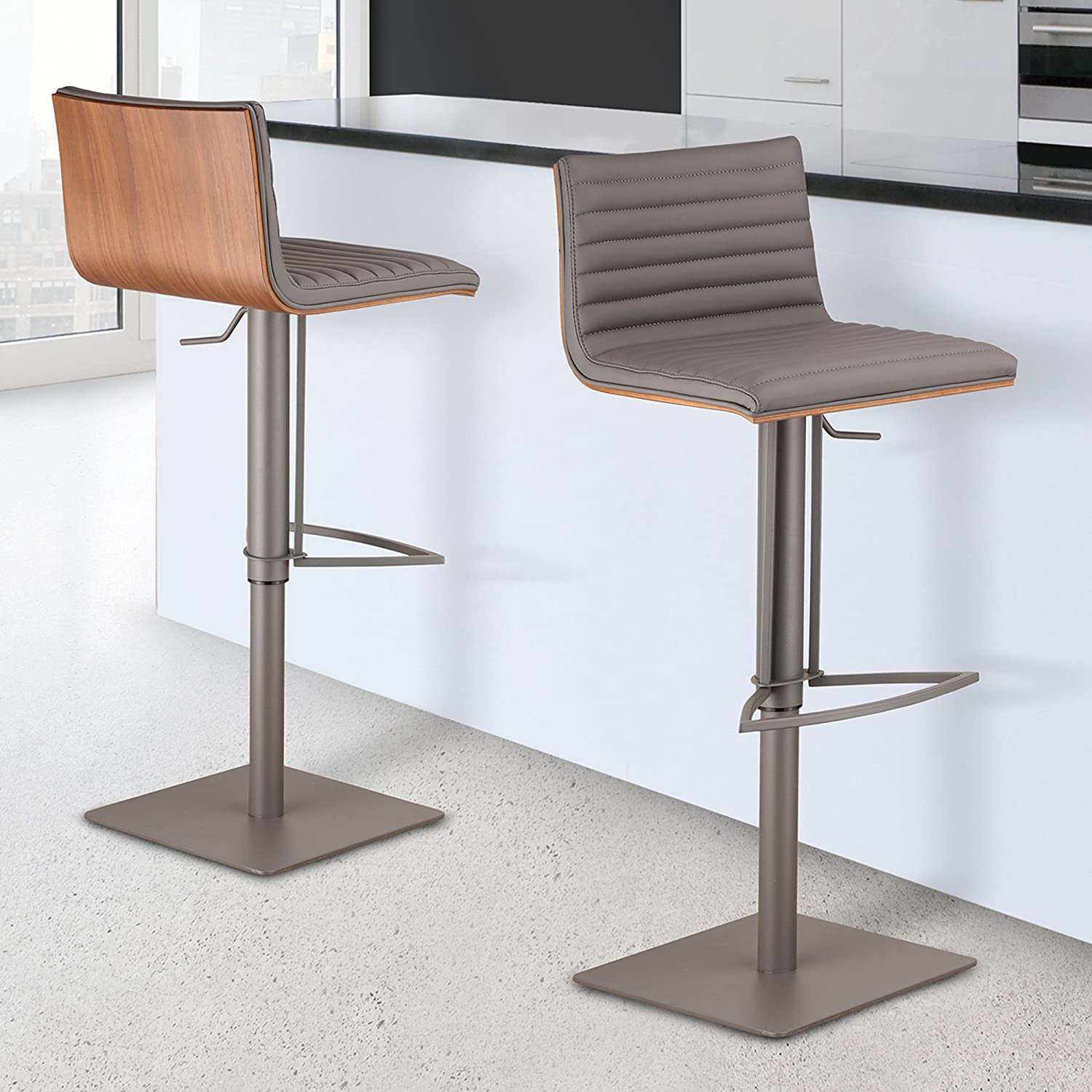 Armen Living LCCASWBAGRBA Café Adjustable Barstool in Grey Faux Leather Gray