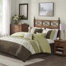 Madison Park Serene Comforter Reversible Solid Faux Silk Floral King Green