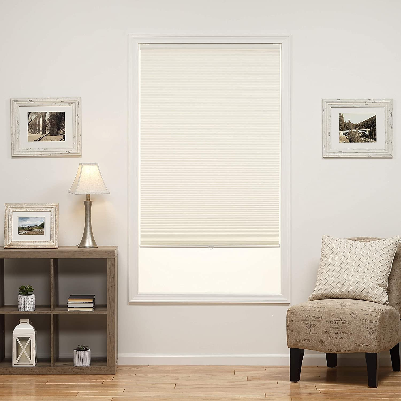"DEZ Furnishings 31.5W x 64H Inches Cream 1"" Single Cellular Window Shade"