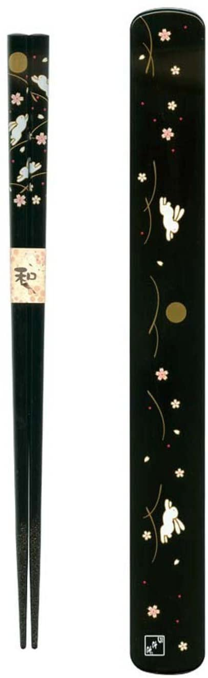 Ryu Mei 058016 Rabbit Japanese Chopstick Box and Set, Black