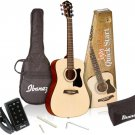 Ibanez 6 String Acoustic Guitar Pack, Right Handed, Natural Gloss Natural Gloss
