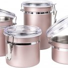 Creative Home 50259 4-Piece Stainless Steel Canister, Container Set Rose Gold