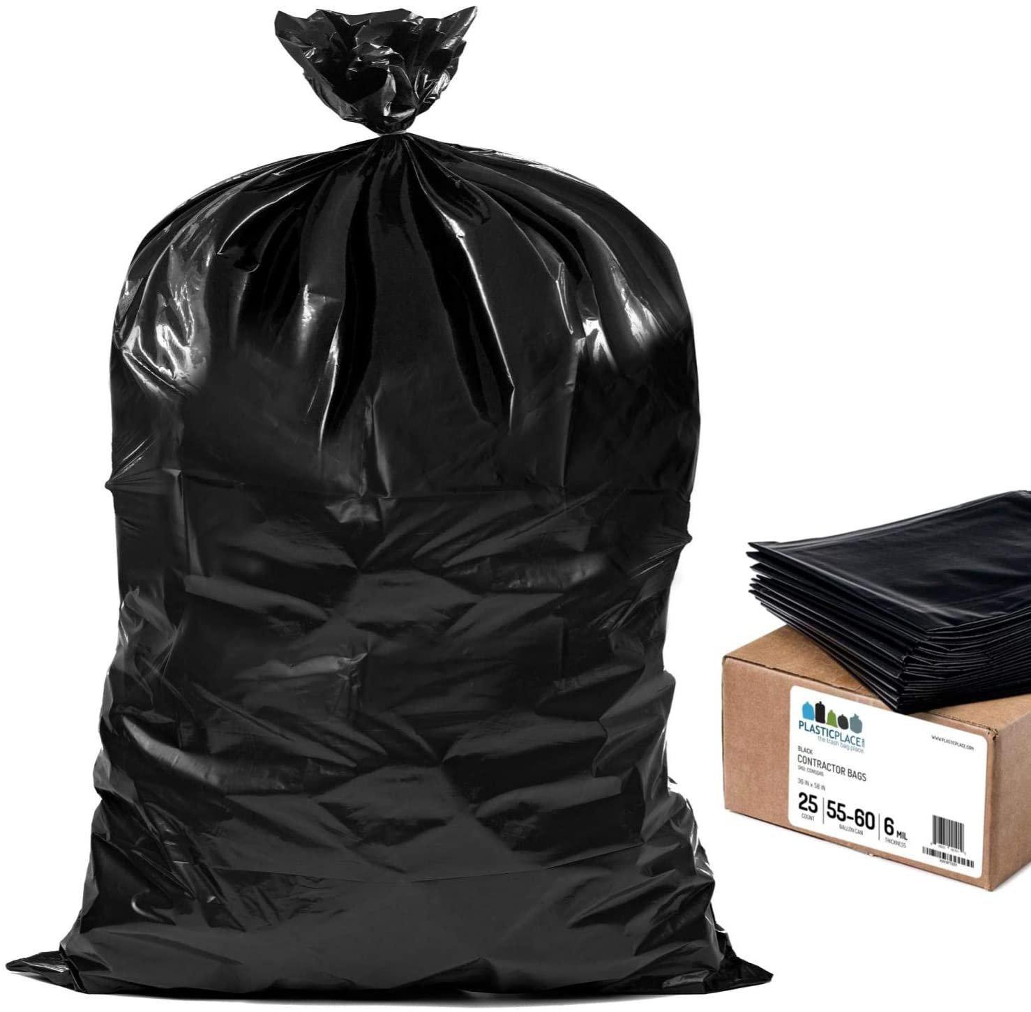 Plasticplace Contractor Trash Bags 55-60 Gallon � 6.0 Mil � Black 25 Count