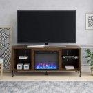 "Novogratz Concord Fireplace 70"", Walnut TV Stand Walnut Fireplace TV Stand"