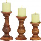 """Deco 79 51536 Wood Candle Holder (Set of 3) 10"""", 8"""", 6"""" H Brown"""