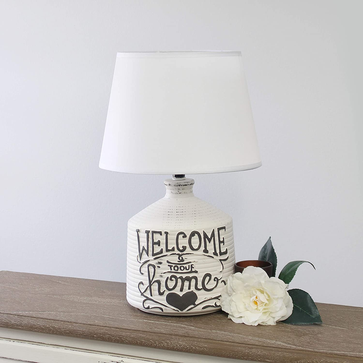 Simple Designs LT1066-HME Welcome Home Ceramic Farmhouse Table Lamp Home
