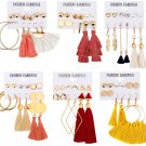 JACEDOFU 36 PairsTassel Earrings Layered Long Thread Ball Dangle Earrings Stud
