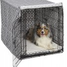 MidWest Dog Crate Cover, Privacy Dog Crate 42-Inch Brown Geometric Pattern