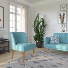 Novogratz Brittany Upholstered Accent, Light Blue Linen Light Blue Accent Chair