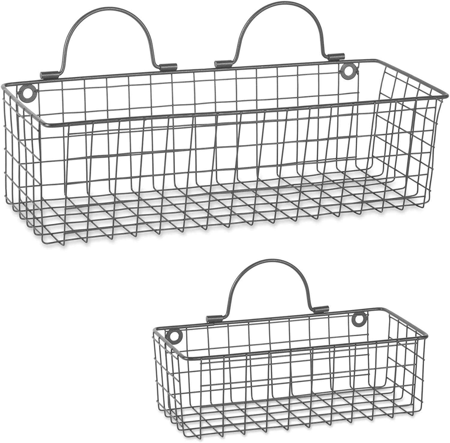 DII Assorted Rustic Farmhouse Vintage Wire Wall Basket Set of Assorted 2 Black
