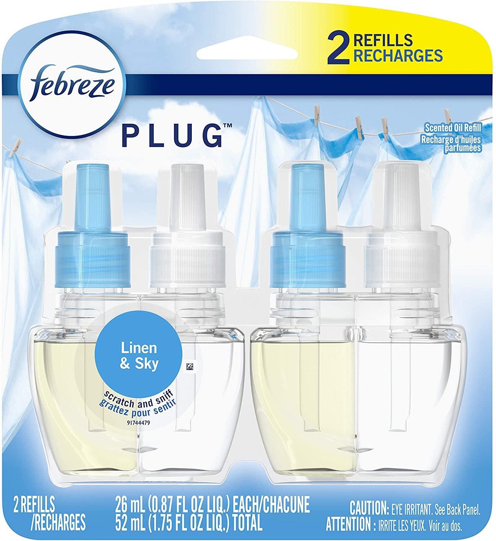 Febreze Plug In, Air Freshener, Scented Oil Refill, Linen & Sky, 2 Count