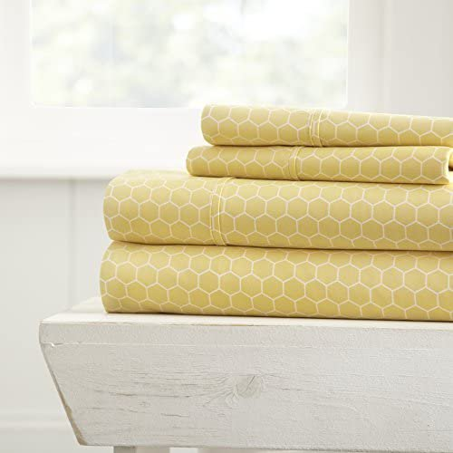 ienjoy Home 4 Piece Sheet Set Patterned, Full, Honeycomb Full Honeycomb Yellow