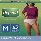 Depend FIT-Flex Incontinence Underwear for Women, Disposable, Medium (42 Count)