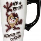 Looney Tunes Taz Travel Mug, One Size, White Taz I'm a Beast
