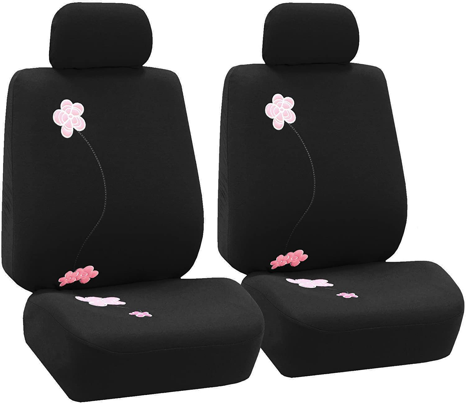 FH Group FB053BLACK102 Seat Cover (Flower Embroidery Airbag Black Half Set