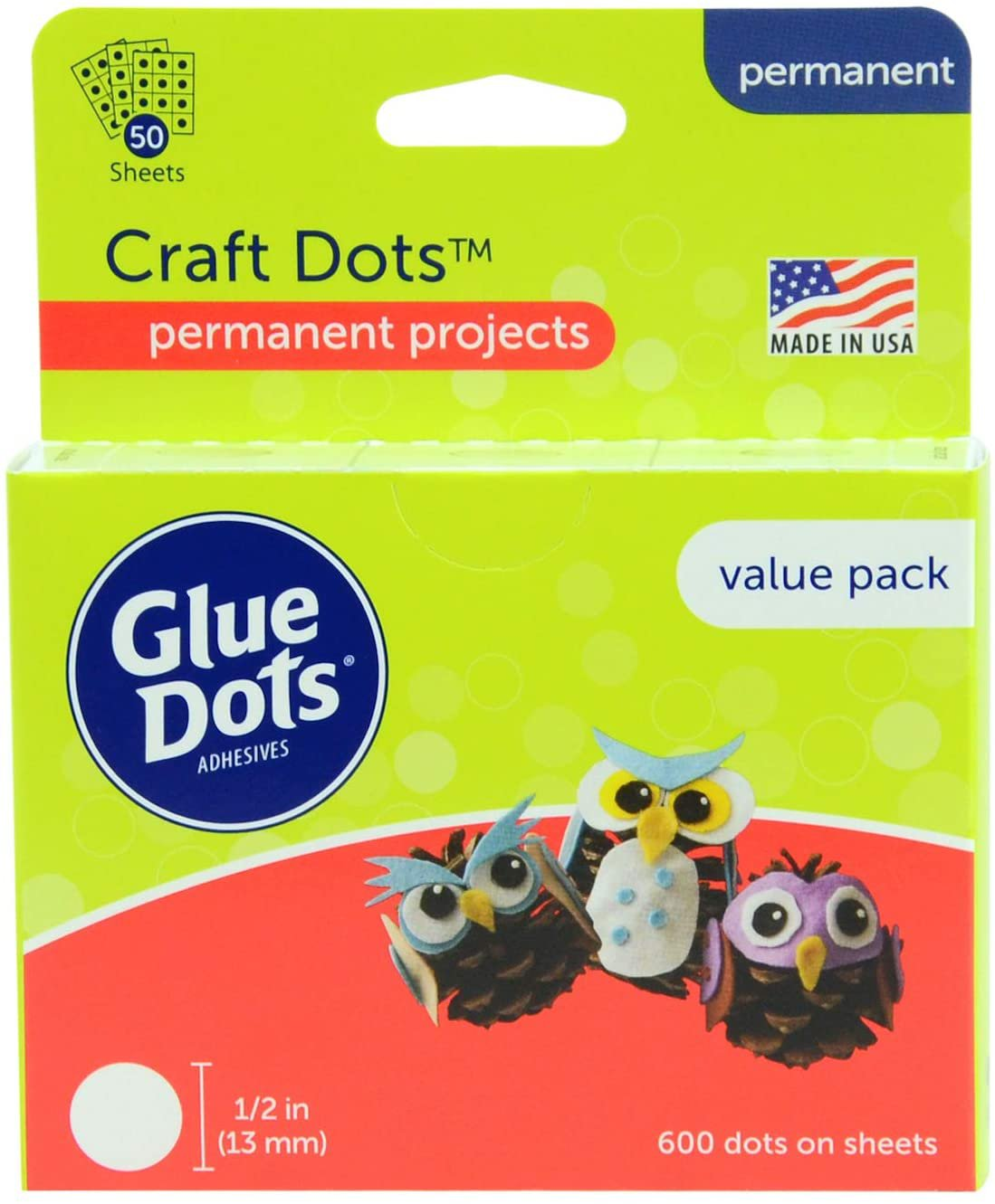 Glue Dots Craft Glue Dot Value Pack, 1/2 Inch, Clear, Pack of 600 Craft