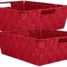 DII Durable Trapezoid Woven Nylon Storage Bin or Basket for Organizing Tray Red